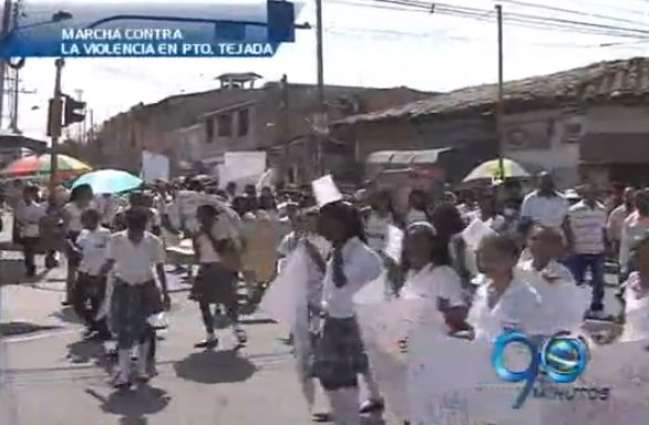 Marcha contra la violencia en Puerto Tejada
