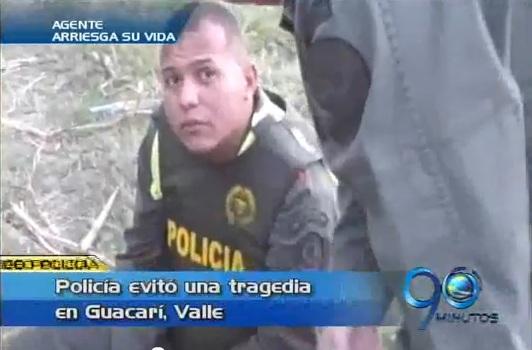 Agente de Policía evitó una tragedia en Guacarí