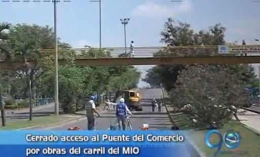 Obras del MIO en el Puente del Comercio