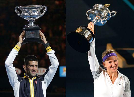 Novak Djokovic y Victoria Azarenka, reyes del Abierto de Australia