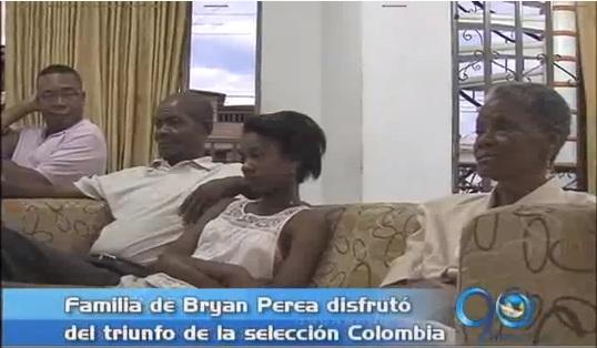 La familia de Brayan Perea disfrutó del triunfo de Colombia