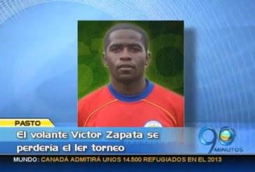 Por una trombosis venosa, Víctor Zapata se perdería este torneo con el Pasto
