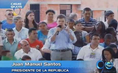 Presidente Santos entrega las primeras 91 viviendas gratuitas en Pradera