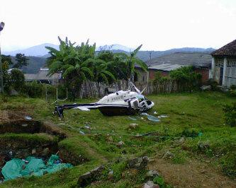 Se cayó un helicóptero cerca al casco urbano de Caldono