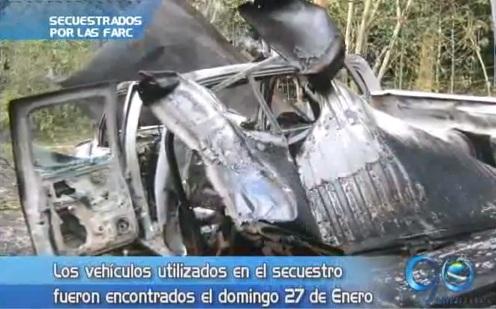 Vehículos utilizados para el secuestro de policías con explosivos