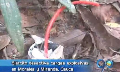 Ejército desactivó explosivos en el norte del Cauca