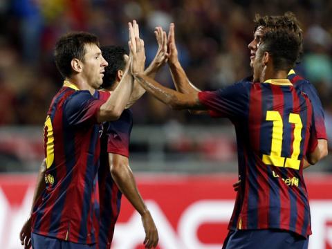Goleada del Barcelona frente a la selección de Tailandia
