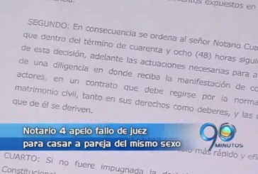 Notario apela fallo de juez que lo obliga a casar pareja homosexual