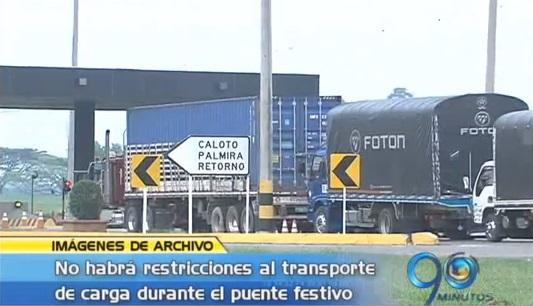 No habrá restricciones al transporte de carga durante el puente festivo