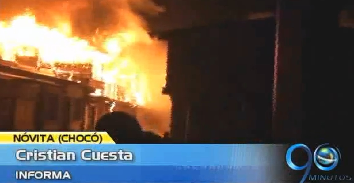 Incendio en municipio del Chocó deja 15 casas destruidas