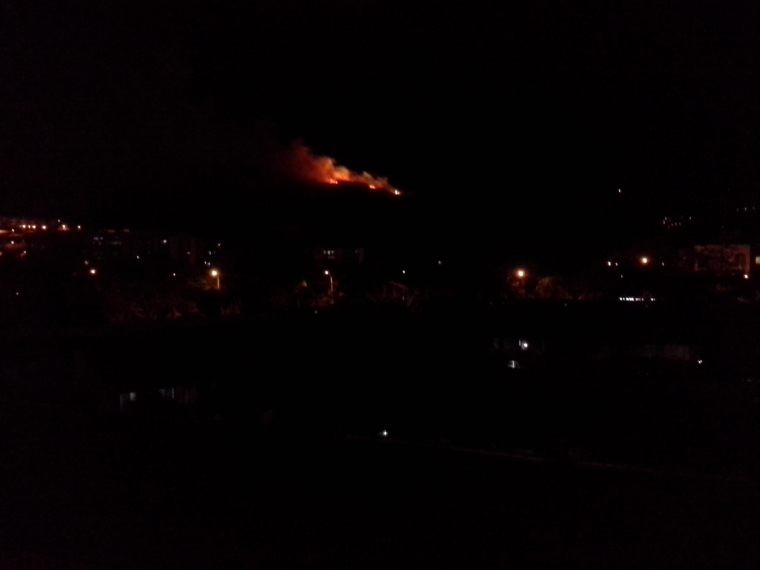 Bomberos atienden incendio forestal en el cerro de La Bandera