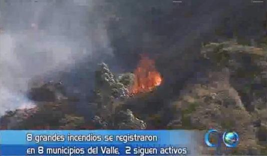 Incendios forestales en Buga y Jamundí por altas temperaturas