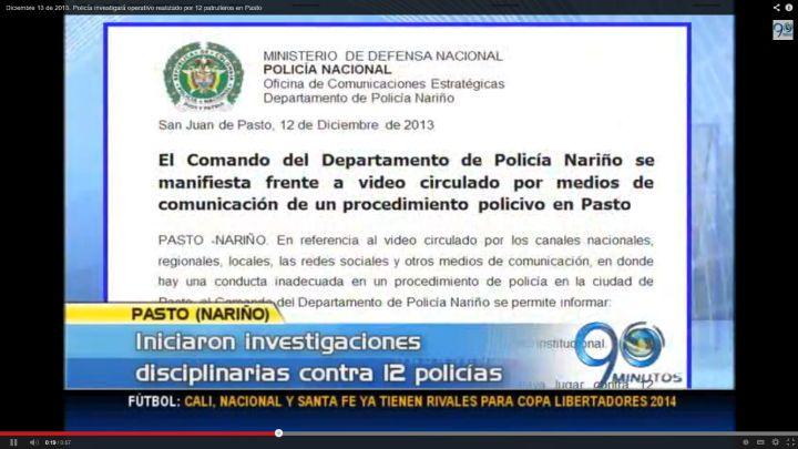 Policía investigará operativo realizado por 12 patrulleros en Pasto