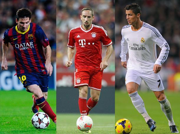 Messi, Cristiano y Ribery finalistas por el balón de oro 2013