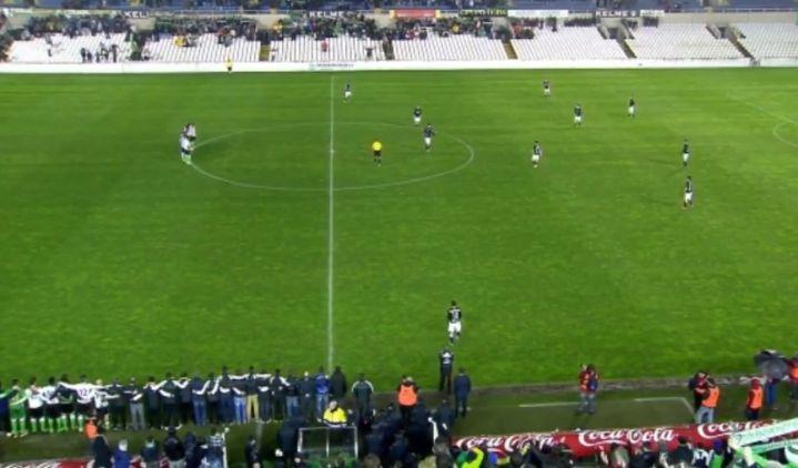 Singular protesta de los jugadores del Racing Santander en Copa del Rey