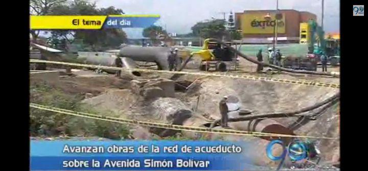 Así avanzan las obras del acueducto en la Avenida Simón Bolivar