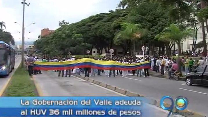 Bloqueos en Calle quinta por protesta del sindicato del HUV