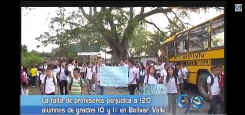 Protesta de estudiantes en Bolivar, Valle