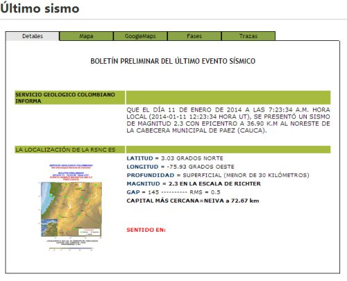 Sismo leve con epicentro en Cauca