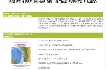 Dos temblores registrados en Chocó la mañana del miércoles
