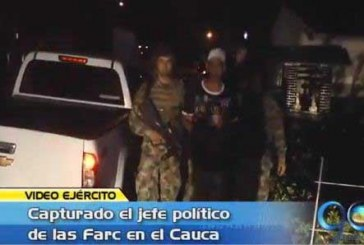 Capturado alias 'El Burro', jefe político de las Farc en el Cauca