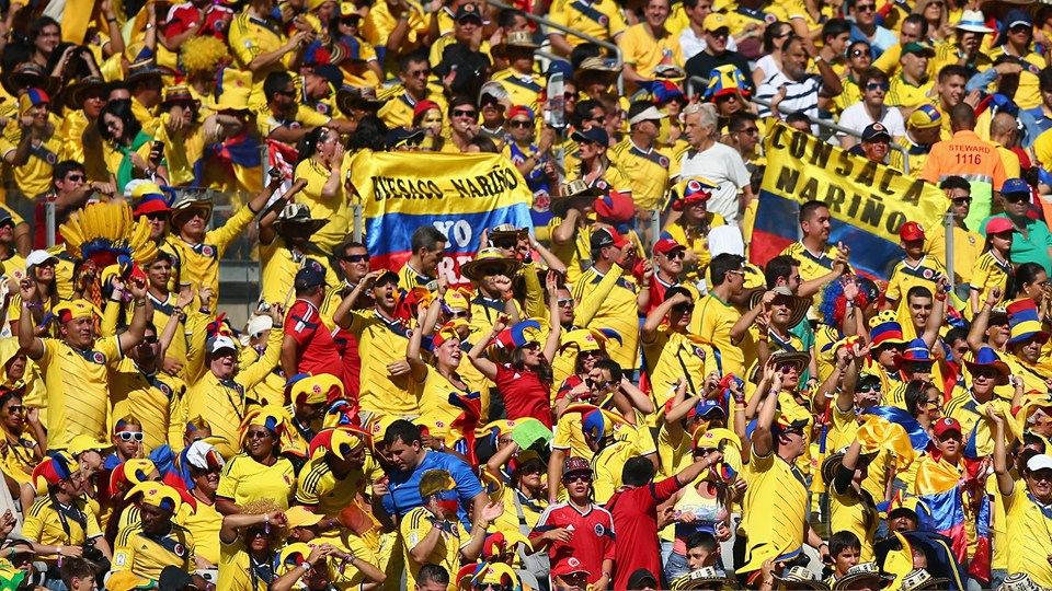 Colombianos tiñen de tricolor las calles de Brasil
