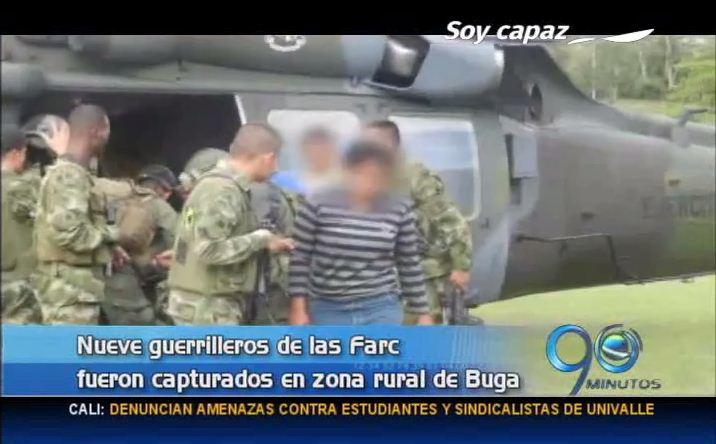 Ejército capturó nueve guerrilleros en zona rural de Buga