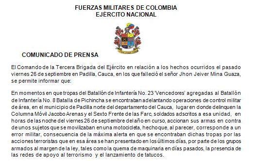 Ejército reconoce error militar en muerte de joven en Cauca
