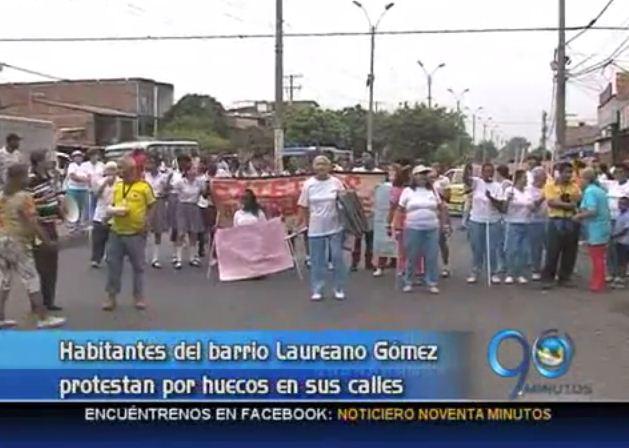 Habitantes del barrio Laureano Gomez protestan por abandono de sus calles