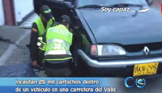 Policía incautó 25 mil cartuchos dentro de un vehículo