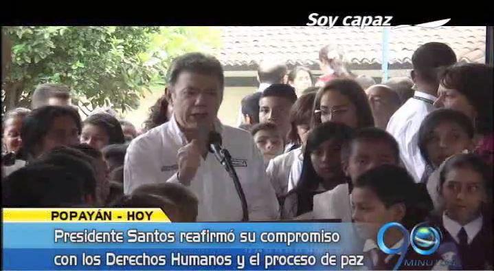 Presidente Santos defendió en Popayán el proceso de paz y los DD.HH