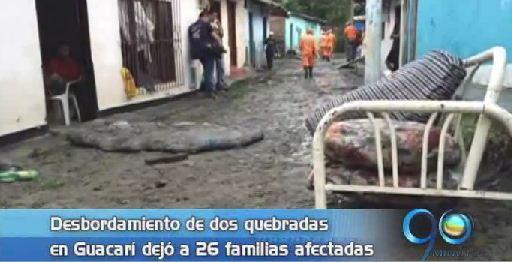 Desbordamiento de quebradas en Guacarí deja 30 familias damnificadas