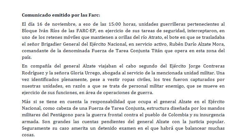 Este es el comunicado de las Farc sobre el General Alzate