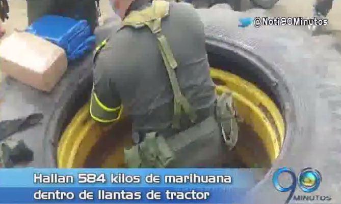 Hallan 584 kilos de marihuana dentro de llantas de tractor