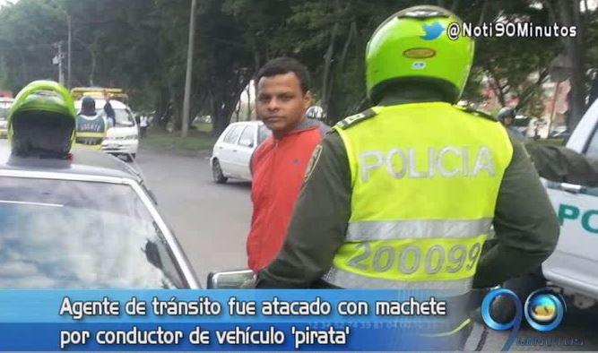 Agente de tránsito fue atacado con machete por un conductor
