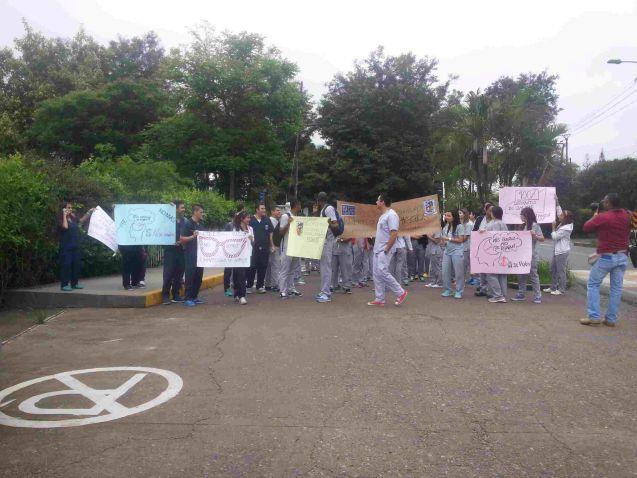Estudiantes de la San Martín protestaron en Cali