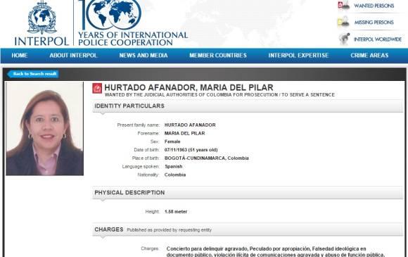 Interpol declaró circular roja contra María de Pilar Hurtado