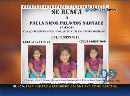 Sigue la búsqueda de Paula Nicole Palacios, de 5 años, en Buesaco