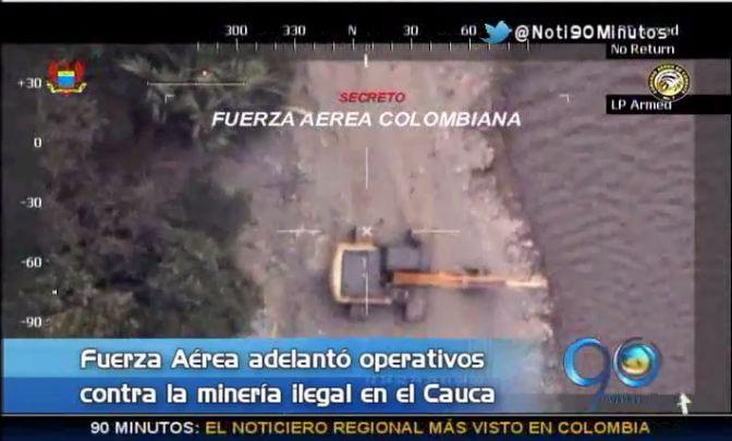 Fuerza Aérea destruyó maquinaria para la minería ilegal en Cauca