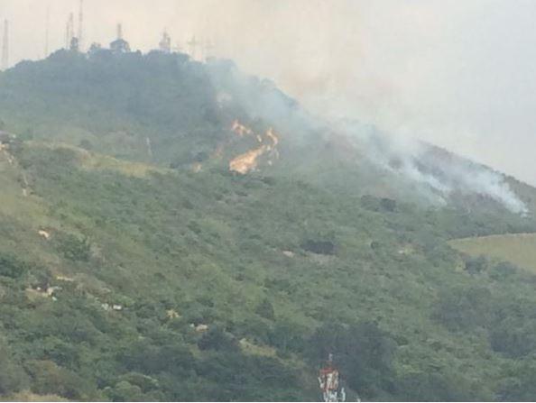 Bomberos controlan incendio en el cerro de Las Tres Cruces