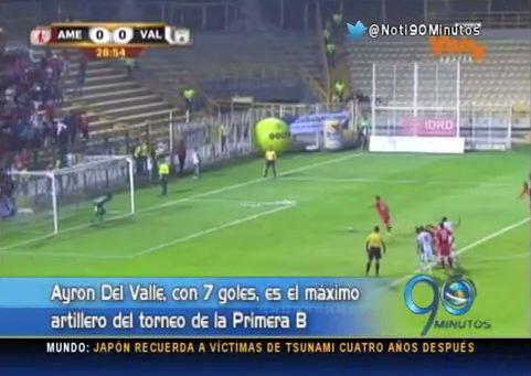 El cartagenero Ayron Del Valle lidera tabla de goleadores de la B