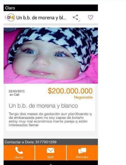 Mujer ofreció a la venta a su hija a través de internet
