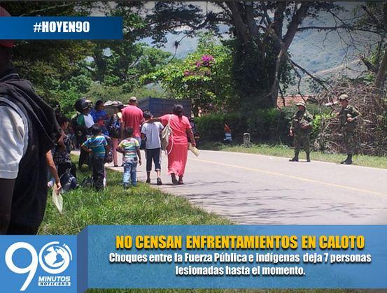 Continúan enfrentamientos entre indígenas y Fuerza Pública en el Cauca