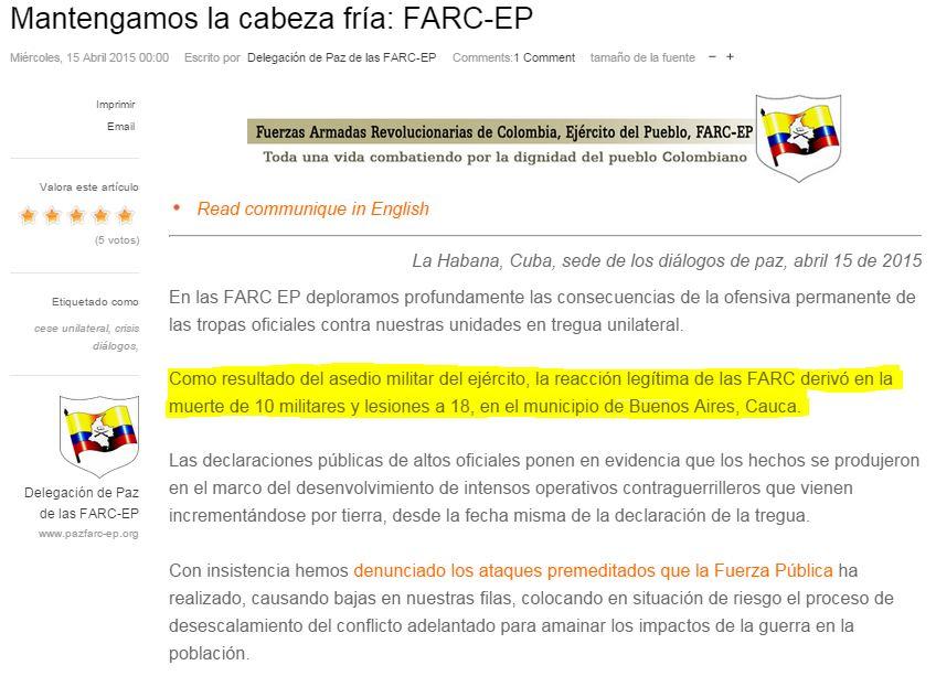 """""""Atentado en Cauca se ejecutó por asedio militar"""": Farc"""
