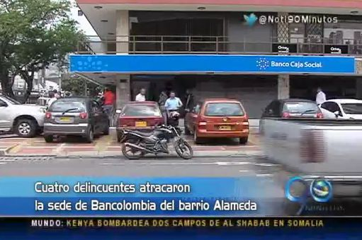 Cuatro delincuentes asaltaron una entidad bancaria del barrio Alameda