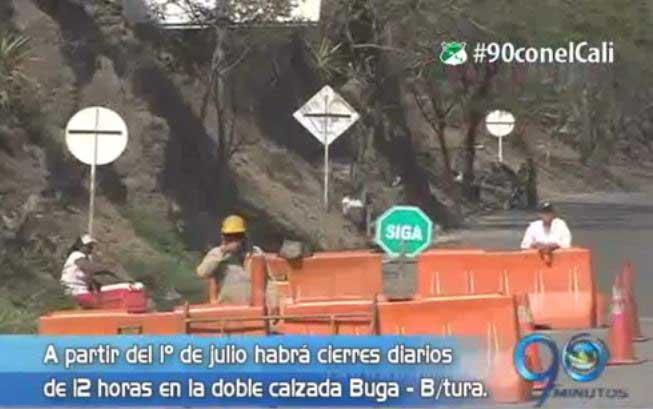 Vía Buga – B/tura. tendrá cierres diarios para acelerar obras de la doble calzada
