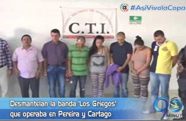 Autoridades desmantelan la banda 'Los Griegos' que operaba en Cartago y Pereira