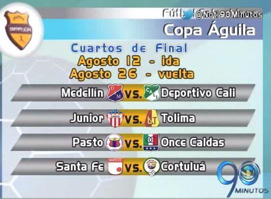 Así quedaron los enfrentamientos de cuartos de la Copa Águila