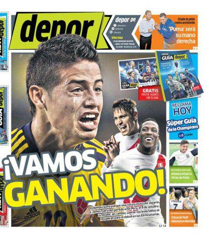 Diario peruano se burla de la lesión de James Rodríguez