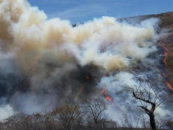 Fuerza Aérea apoya gigantezco incendio forestal en el Cauca